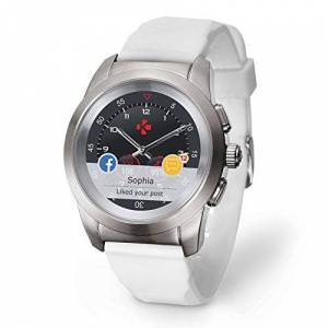 MyKronoz ZeTime Petite Smartwatch Ibrido con Lancette Analogiche su Schermo Tattile, Argento Spazzolato/Silicone Bianco