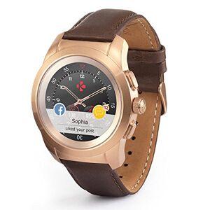 MyKronoz ZeTime-Prem-Reg Smartwatch Ibrido con Lancette Analogiche, Oro Rosa Spazzolato/Pelle Marrone Vintage