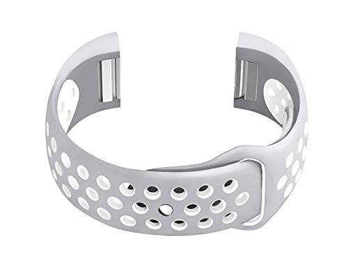NICKSTON Grey with White Compatible with Fitbit Charge 2 Sport Fitness Band Soft Rubber Silicone Replacement Wristband Strap with Quick Release Adapters - Metal Connectors