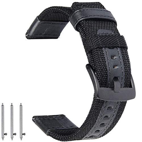 OTOPO Compatibile Galaxy Watch 46mm / Gear S3 Frontier Cinturino, 22mm Quick Release in tessuto di nylon cinturino di ricambio cinturino Band per Samsung Gear S3 Frontier / Classic Smartwatch - Nero
