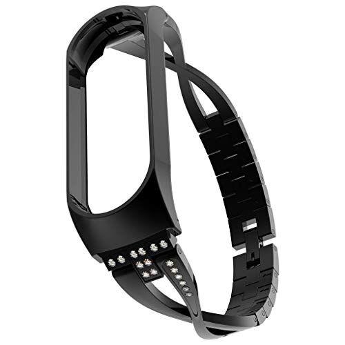 MinusK Quick Release Cinturino di Ricambio per Orologio Unisex, Elegante e Bello Bracciale in Acciaio Inox Diamante Smart Watch Band Strap per Xiaomi Mi Band 4