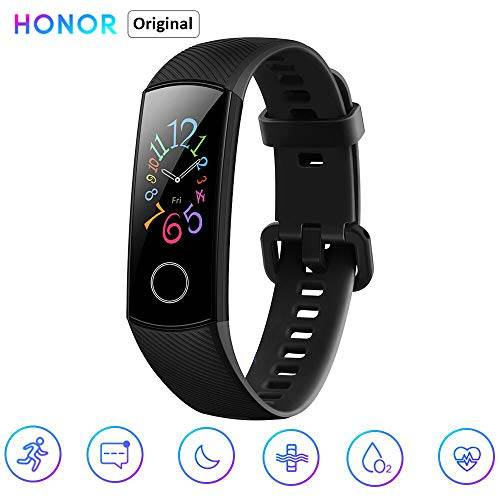 """Honor Band 5 0,95"""" Smartwatch Schermo AMOLED a Colori Waterproof Heart Rate Monitor Wristbands Bracelet con iOS e Android Nero(Versione Globale)"""