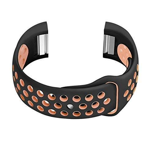 NICKSTON Black with Peach Compatible with Fitbit Charge 2 Sport Fitness Band Soft Rubber Silicone Replacement Wristband Strap with Quick Release Adapters - Metal Connectors
