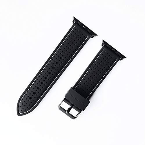 NICKSTON Black Finish Ergonomic (BMHLS-BLK-ORG-42) Luxury Sports Casual Silicone Rubber Soft Band Strap Quick Release for Apple 42mm and 44mm i Watch 1 2 3 4 Series Nike Hermes Edition - Black Color Band