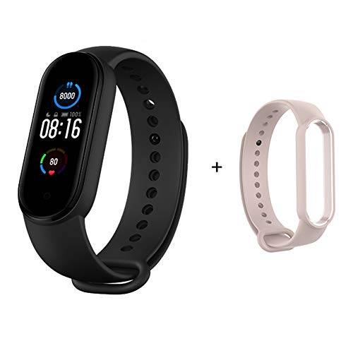 gooplayer per Xiaomi Mi Band 5 braccialetto 4 colori cardiofrequenzimetro fitness braccialetto bluetooth sport schermo AMOLED (xiaomi band 5 + cinturino rosa)