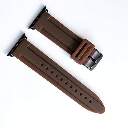 NICKSTON Black Finish Modern (BRRASMD-BLK-ORG-42) Luxury Sports Casual Silicone Rubber Soft Band Strap Quick Release for Apple 42mm and 44mm i Watch 1 2 3 4 Series Nike Hermes Edition - Brown Color Band