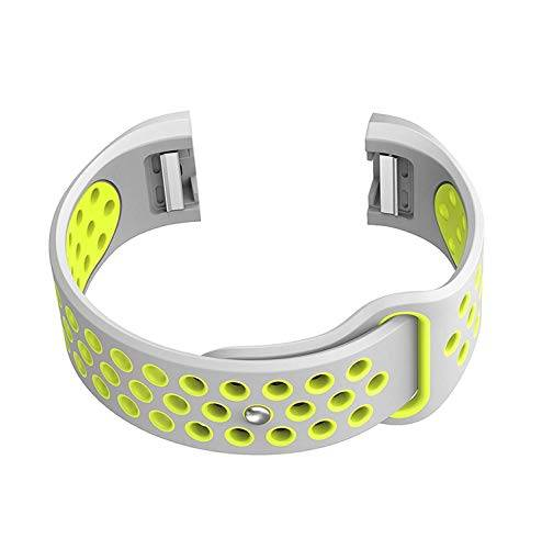 NICKSTON Grey with Green Compatible with Fitbit Charge 2 Sport Fitness Band Soft Rubber Silicone Replacement Wristband Strap with Quick Release Adapters - Metal Connectors