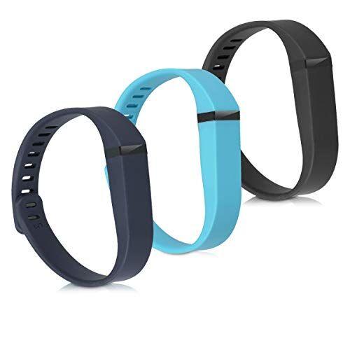 kwmobile Cinturino in Silicone Compatibile con Fitbit Flex - 3X Fascetta - Braccialetto sostitutivo Lunghezza ca. 15-20 cm