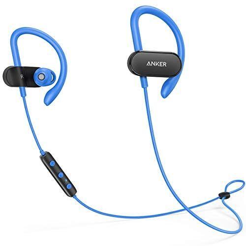Anker Auricolari Wireless Soundbuds Curve. Cuffie Sportive con Bluetooth 4.1 con Ganci Earhook a Nanorivestimento Resistente all'Acqua. Batteria per 14 Ore di autonomia. Riduzione del Rumore CVC