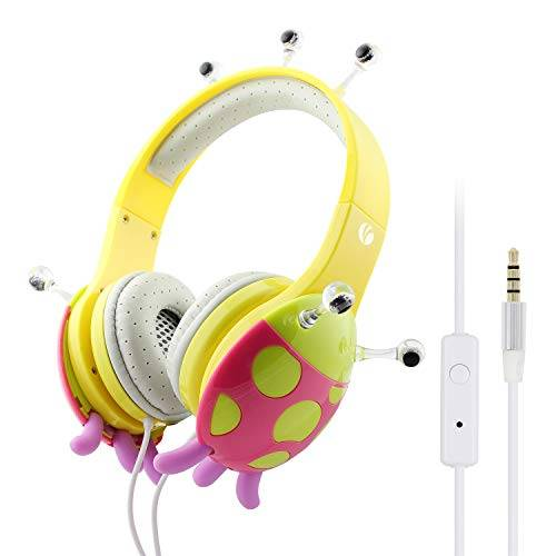 VCOM Cuffie Cablate per Bambini, Cuffie Stereo Over Ear con Limitatore di Volume e Microfono, Auricolari Coccinella per Ragazzi Ragazze Audiolibri Musica Film Tempo Scuola (Giallo)