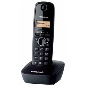 Panasonic KX-TG1611JTH Telefono Cordless DECT Singolo con Base Montabile a Parete, Nero