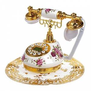 SODIAL(R) SODIAL (R) Stile Retro antiquariato ceramica floreale telefono da tavolo Decorazione casa