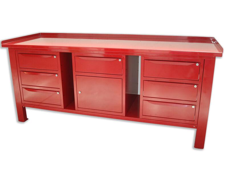 sogi banco da lavoro 2 mt piano in acciaio +2 armadi a 3 cass +1 armadio a cass e anta sogi x3-11_m