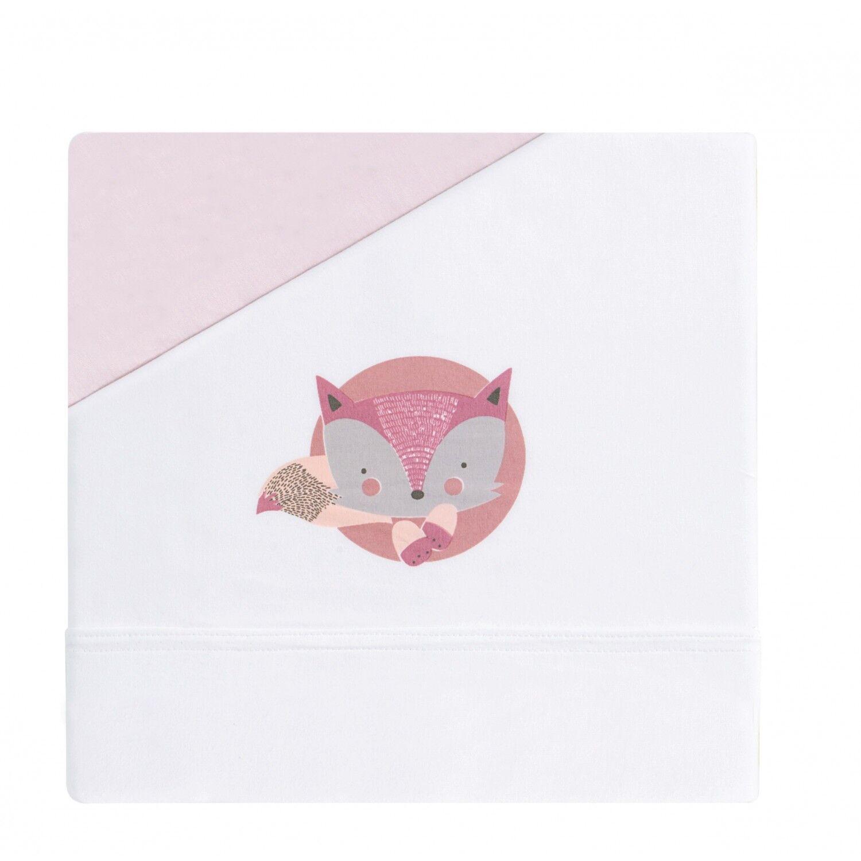 Bimbi Dreams Set Lenzuolino Bimbi Dreams Fox Bianco/Rosa per Carrozzina