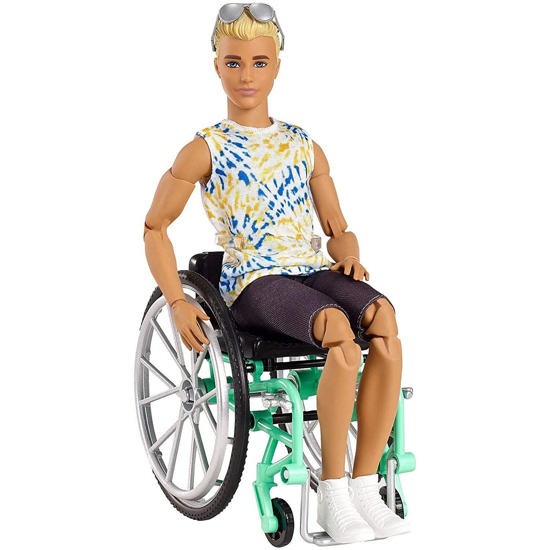 barbie bambola barbie ken fashionistas con sedia a rotelle