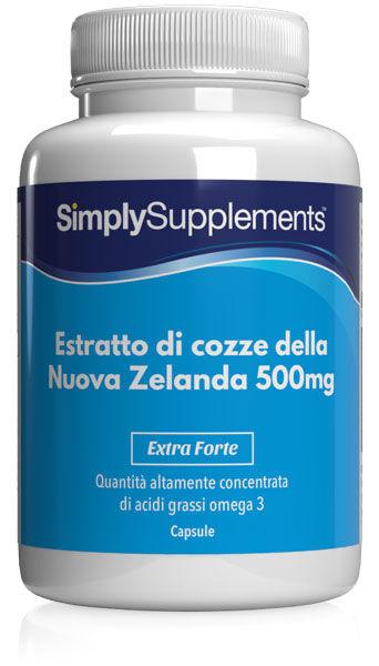 Simply Supplements Estratto di cozze della Nuova Zelanda 500 mg 240 Capsule