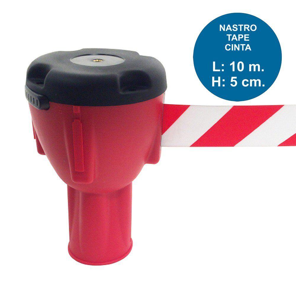 Aggancio rosso per cono con nastro rosso-bianco da 10 metri