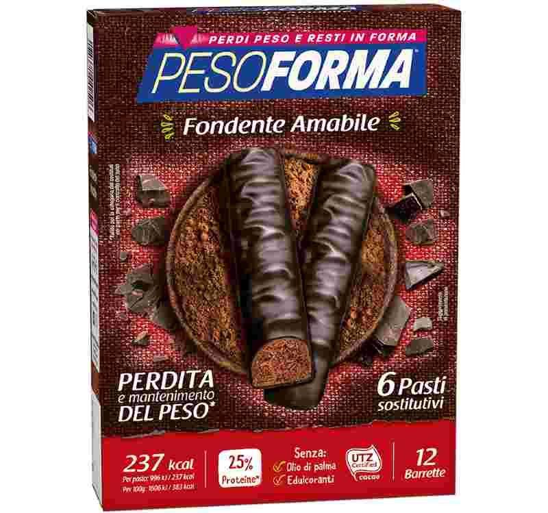 Pesoforma Barrette Cioccolato fondente amabile 12 pezzi