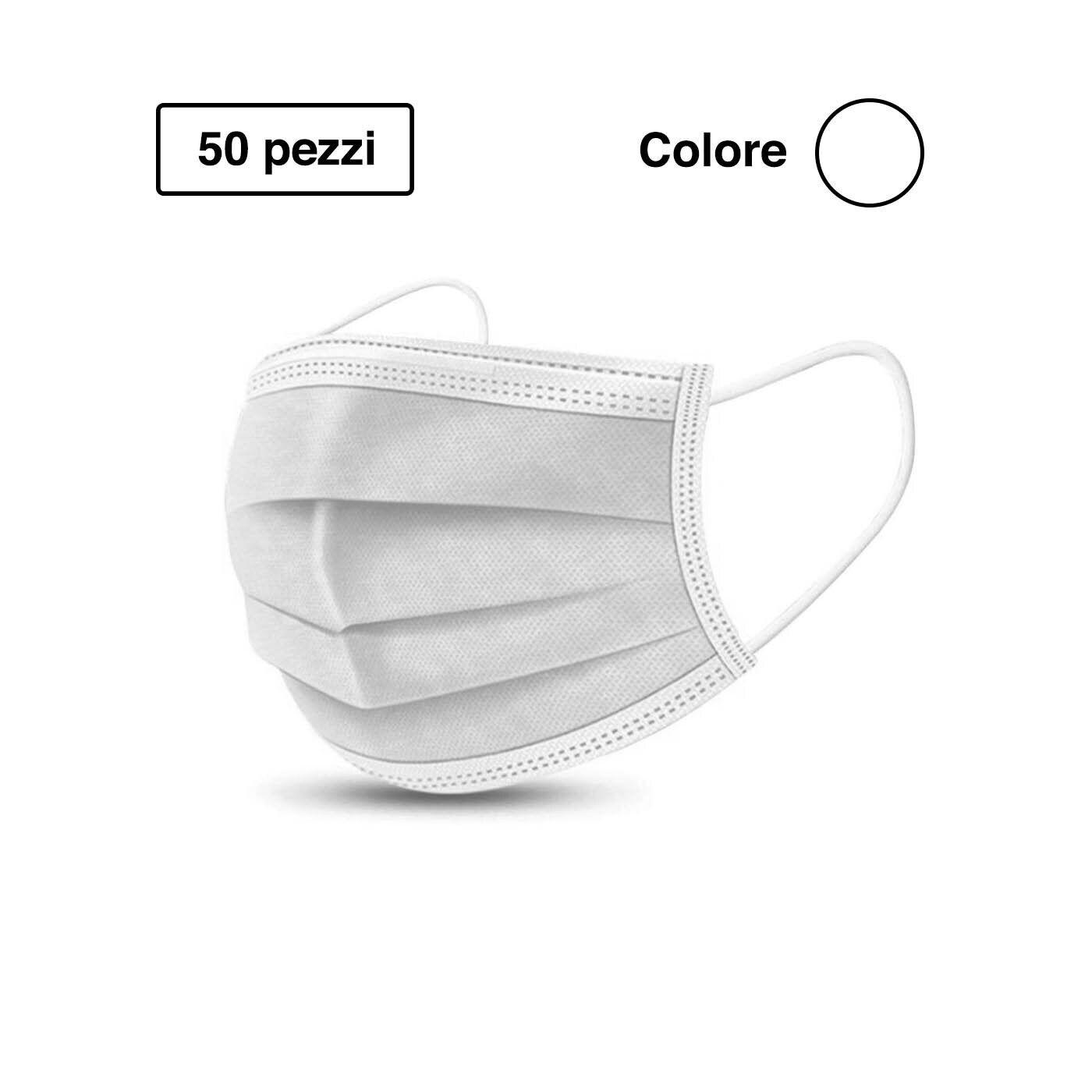 Mascherine Chirurgiche 3 veli filtranti Dispositivo Medico 50 pezzi colore Bianco