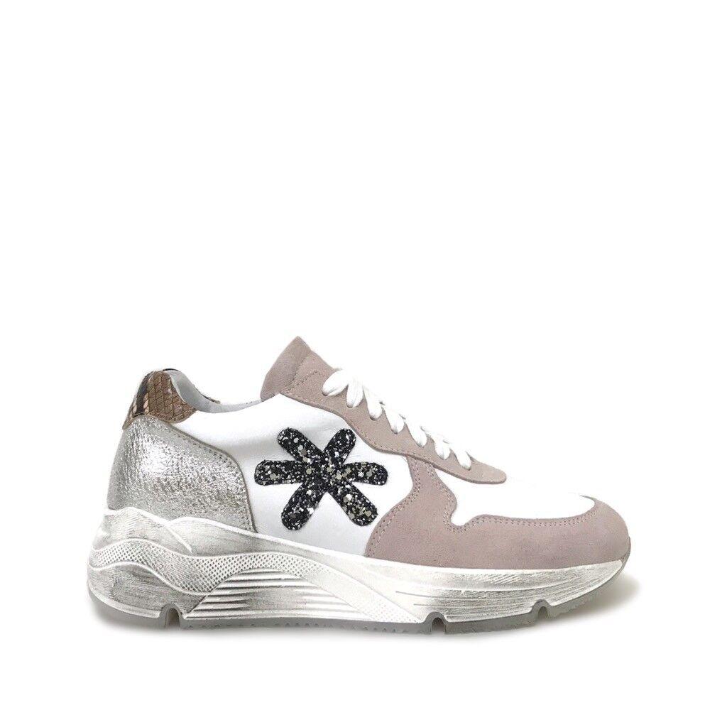shoe gar sneakers running rosa argento glitter pitone