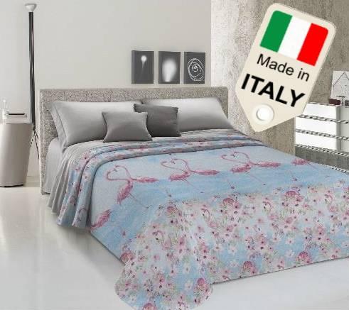 TexST Copriletto estivo primaverile fenicottero flamingo fenicotteri moda made Italy