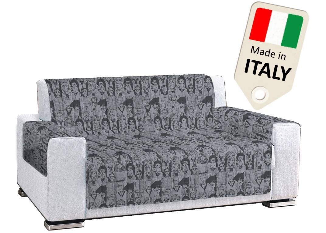 TexST Copridivano Copripoltrona pop art people grigio scuro made in Italy antiscivolo