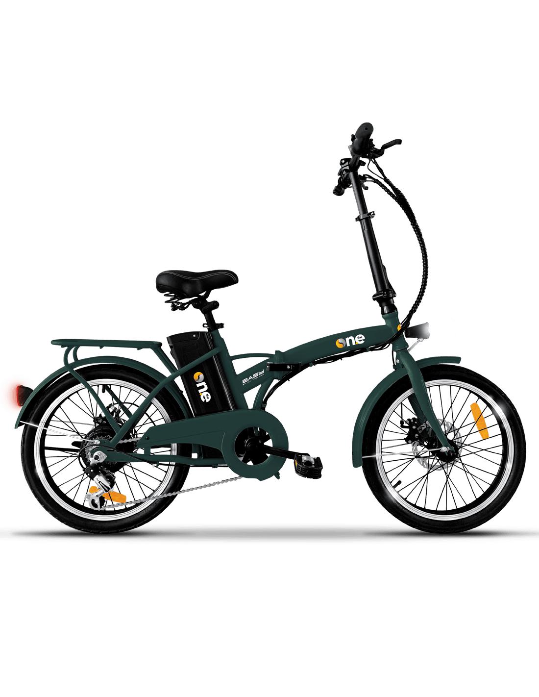 """Bicicletta elettrica The One con pedalata assistita E-Bike Bici Pieghevole 250 W Autonomia 35 km Pneumatici 20"""" - One Easy Forest Green"""