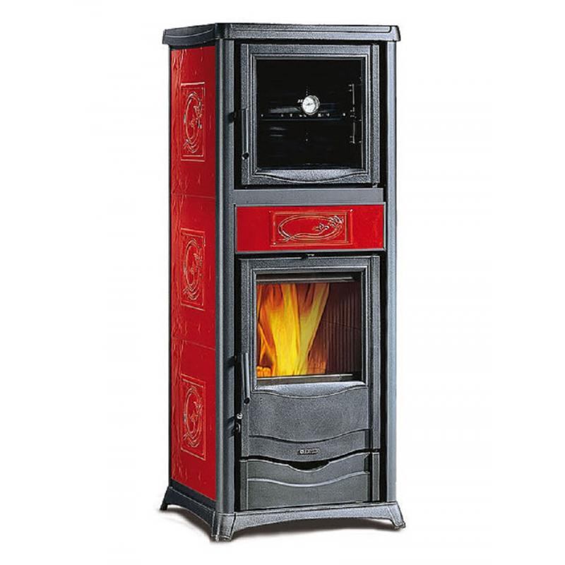 stufa a legna in ghisa la nordica extraflame mod. rossella plus forno evo 9,1 kw bordeaux cod 8339(angolo delle occasioni)