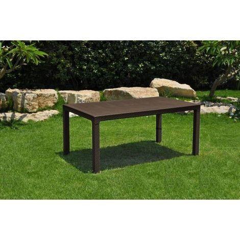 tavolo da giardino in resina effetto rattan cm 160x94x74h - melody 160 brown