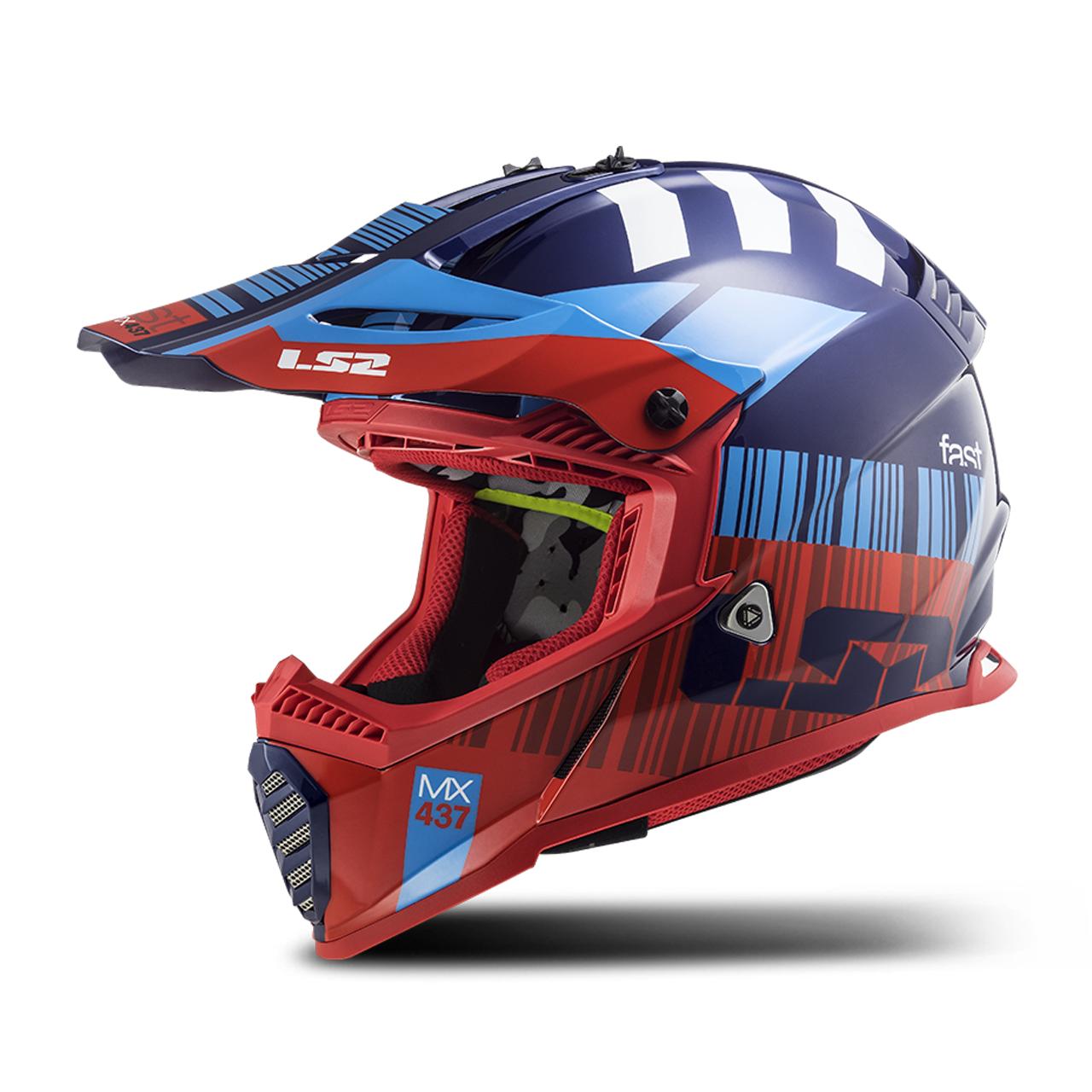 LS2 Casco Cross  MX437 Fast Evo Xcode Rosso-Blu