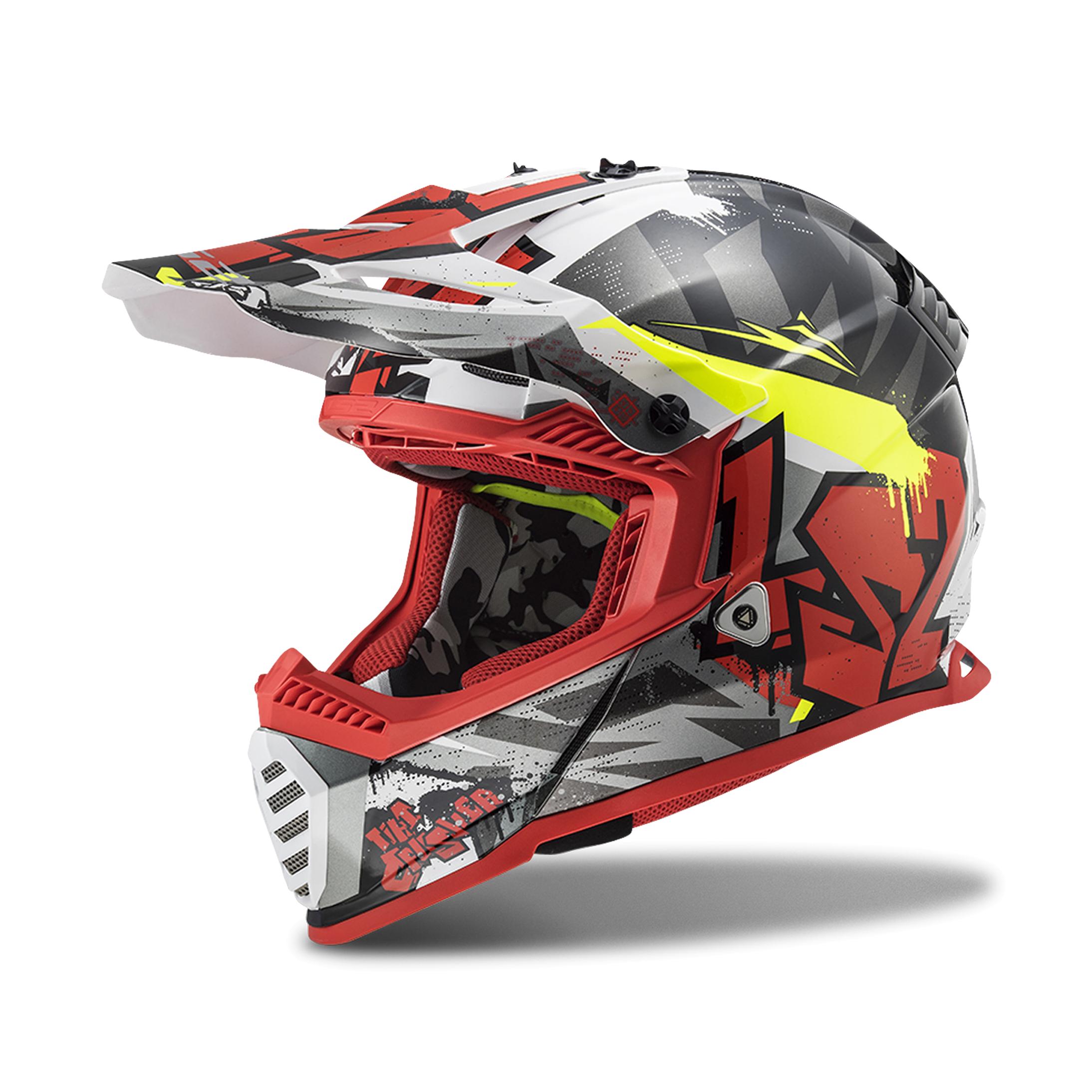 LS2 Casco Cross  MX437 Fast Evo Nero-Rosso