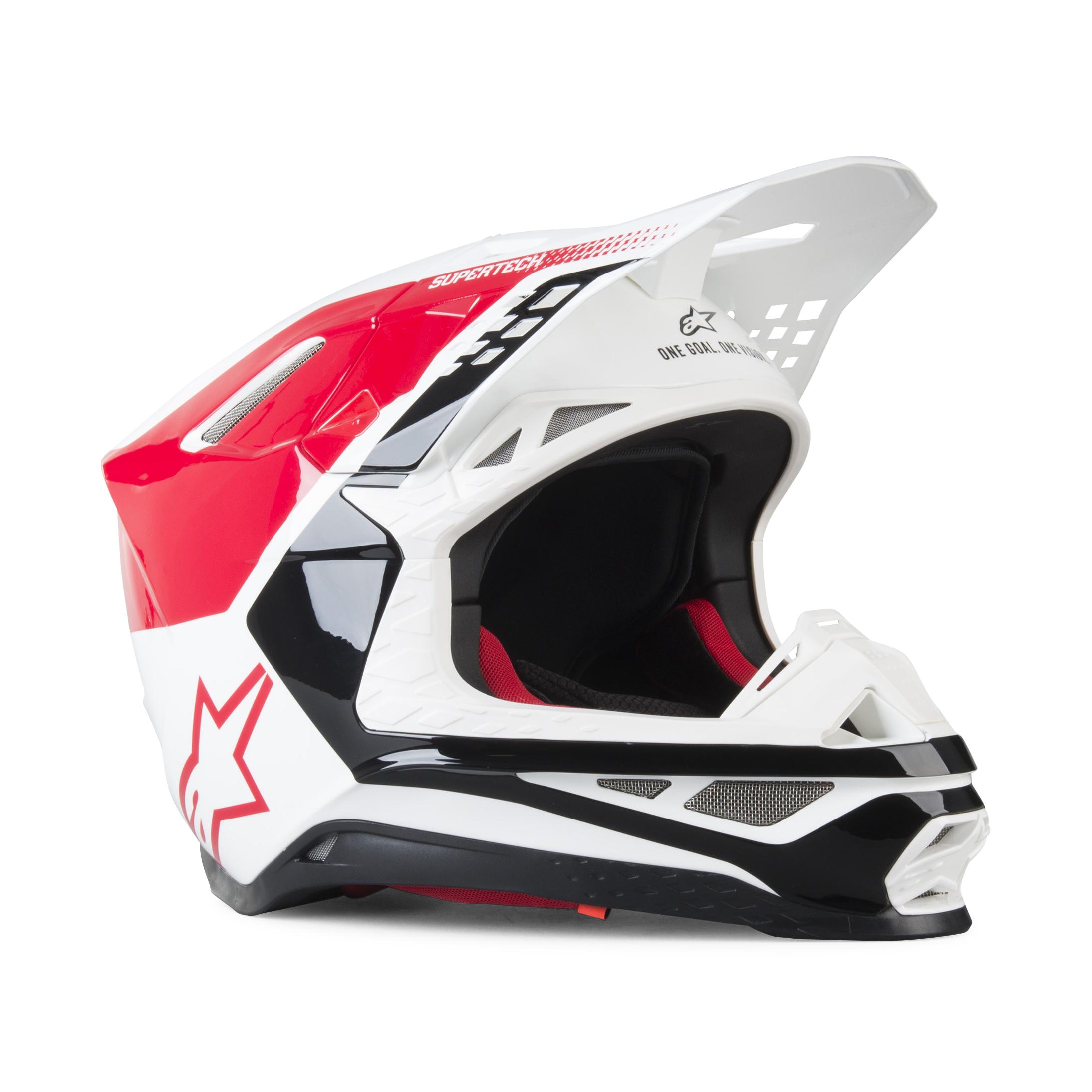 Alpinestars Casco Cross  Supertech S-M8 Triple Rosso-Bianco-Nero Lucido