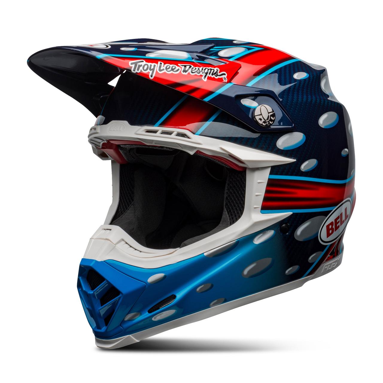 bell casco cross  moto-9 flex mcgrath replica blu-rosso-nero