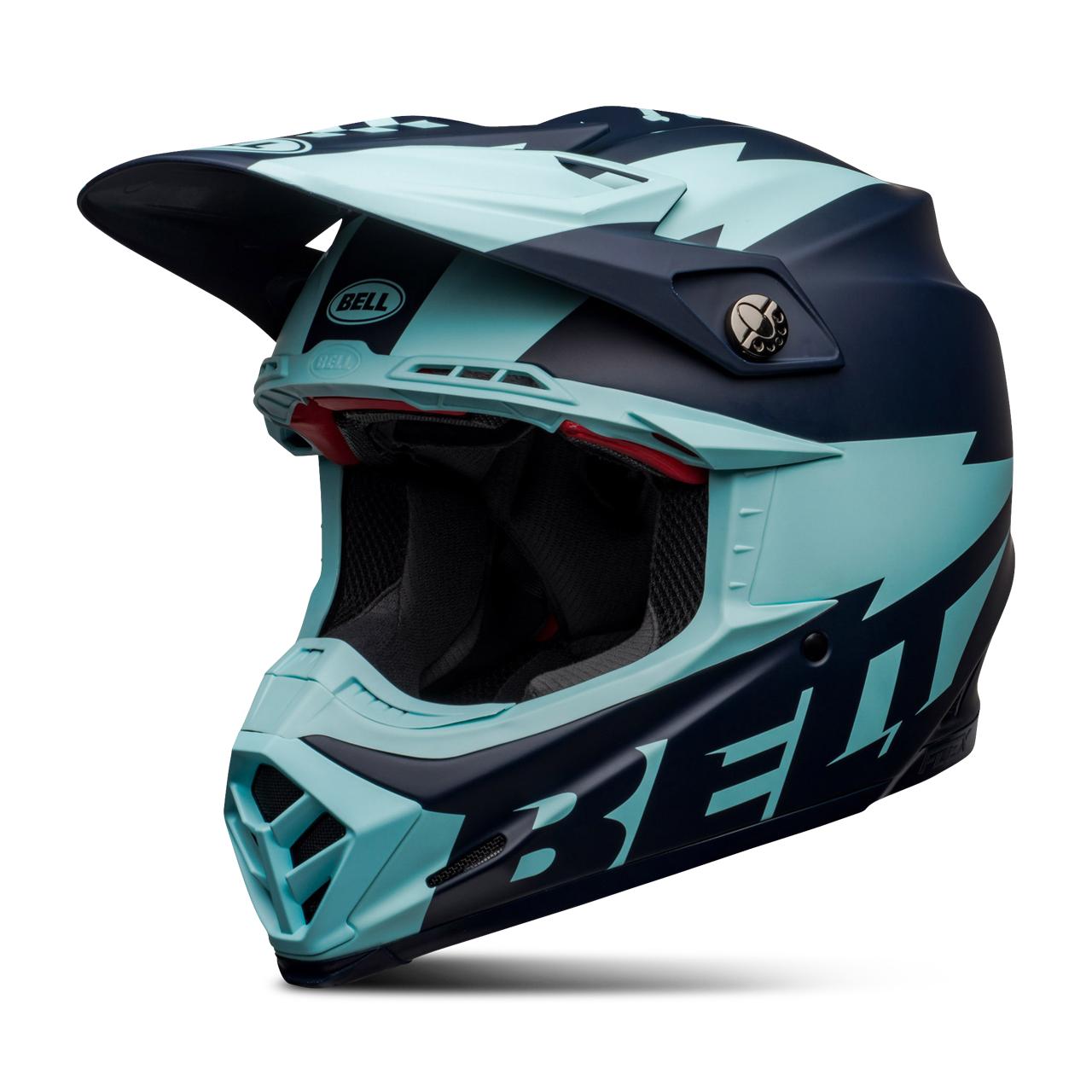 bell casco cross  moto-9 flex breakaway blu-celeste