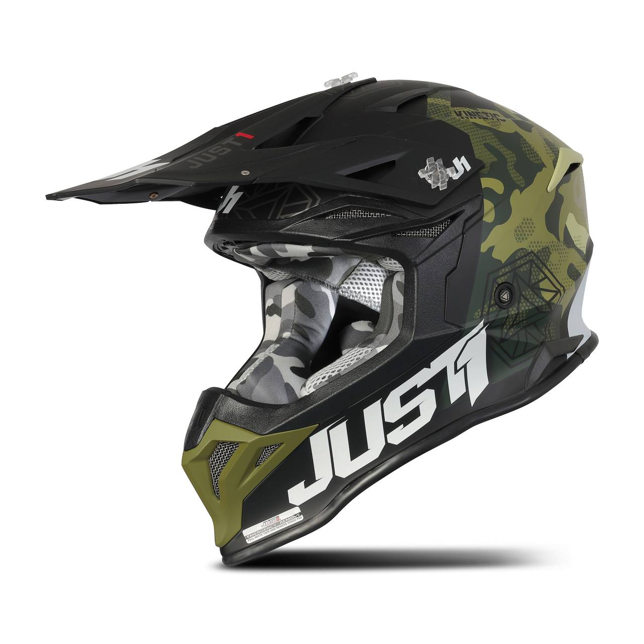 Just1 Casco Cross  J39 Verde-Camo-Nero