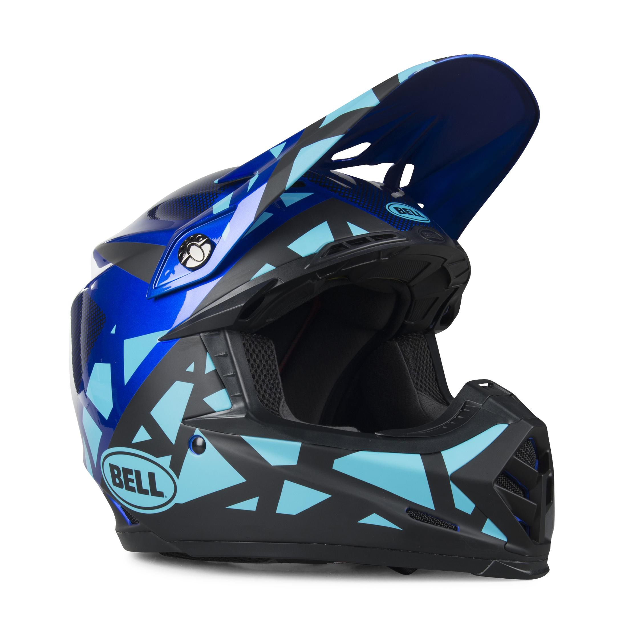 bell casco cross  moto-9 mips tremor blu-nero