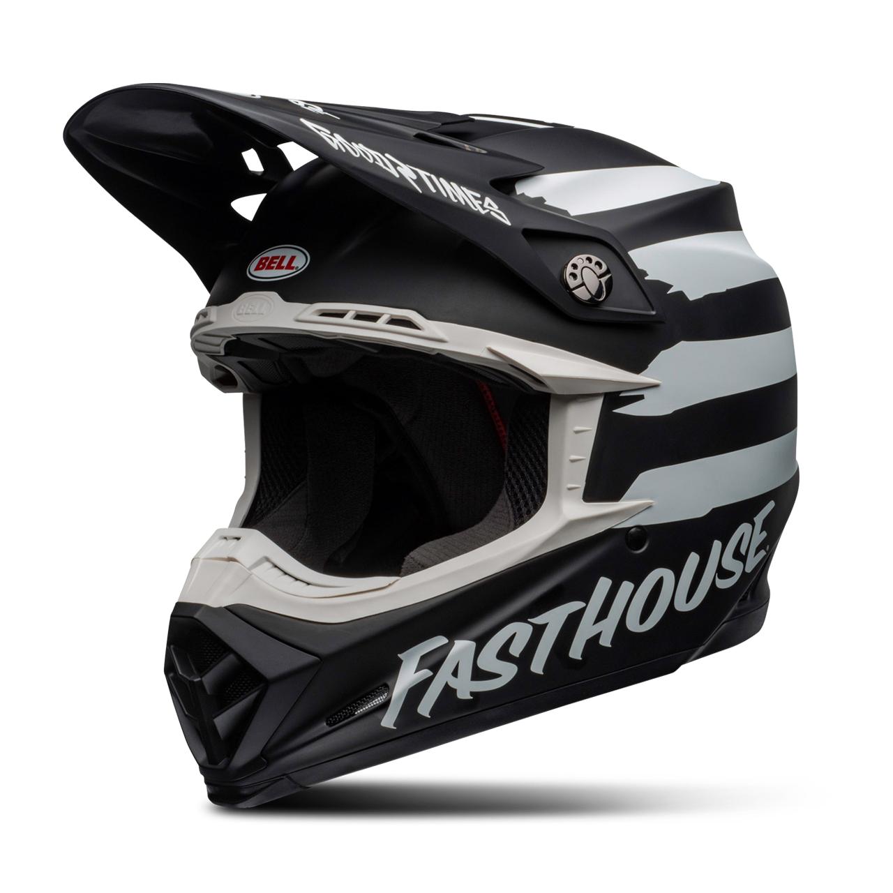 bell casco cross  moto-9 mips fasthouse signia nero-bianco