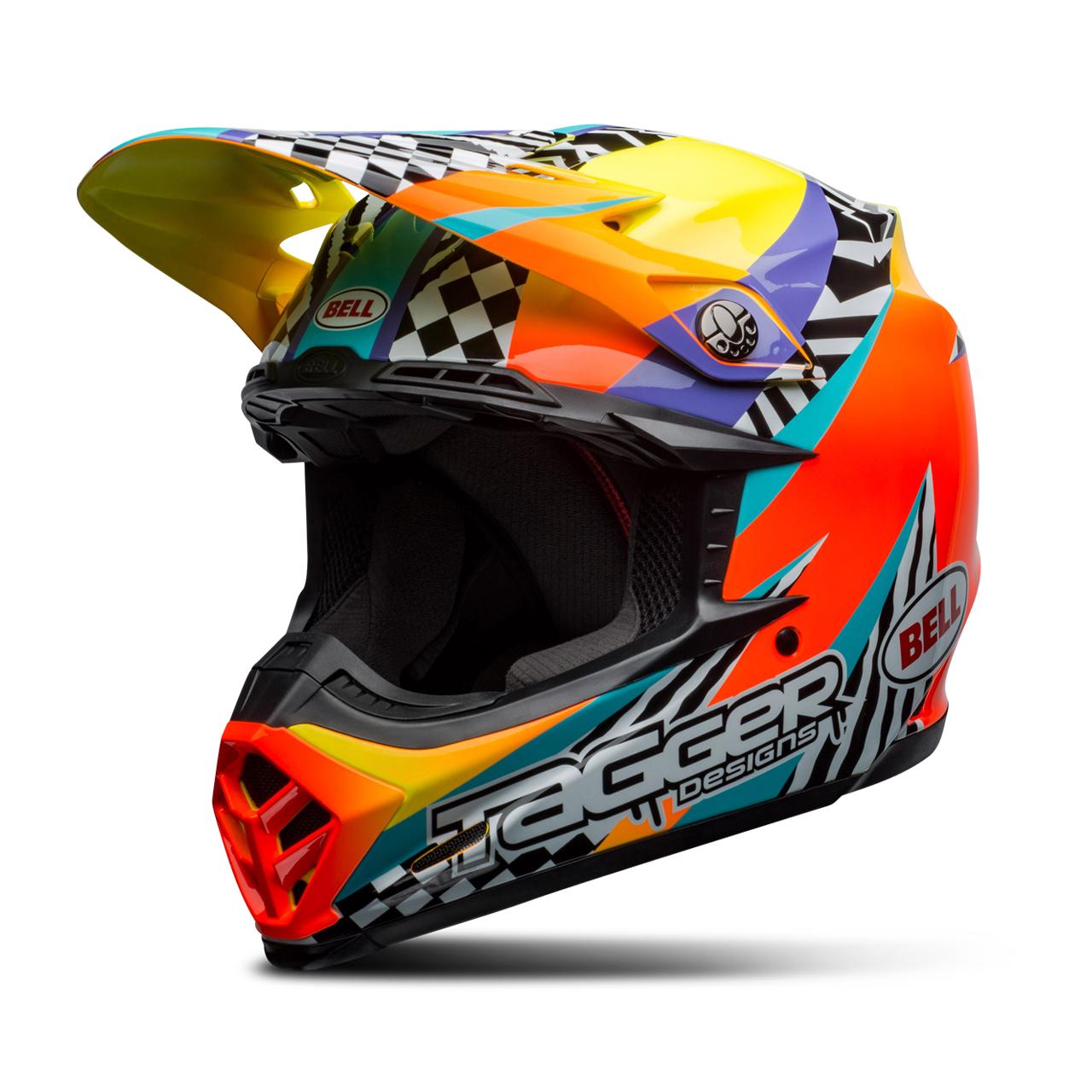 bell casco cross  moto-9 mips tagger breakout arancio-giallo
