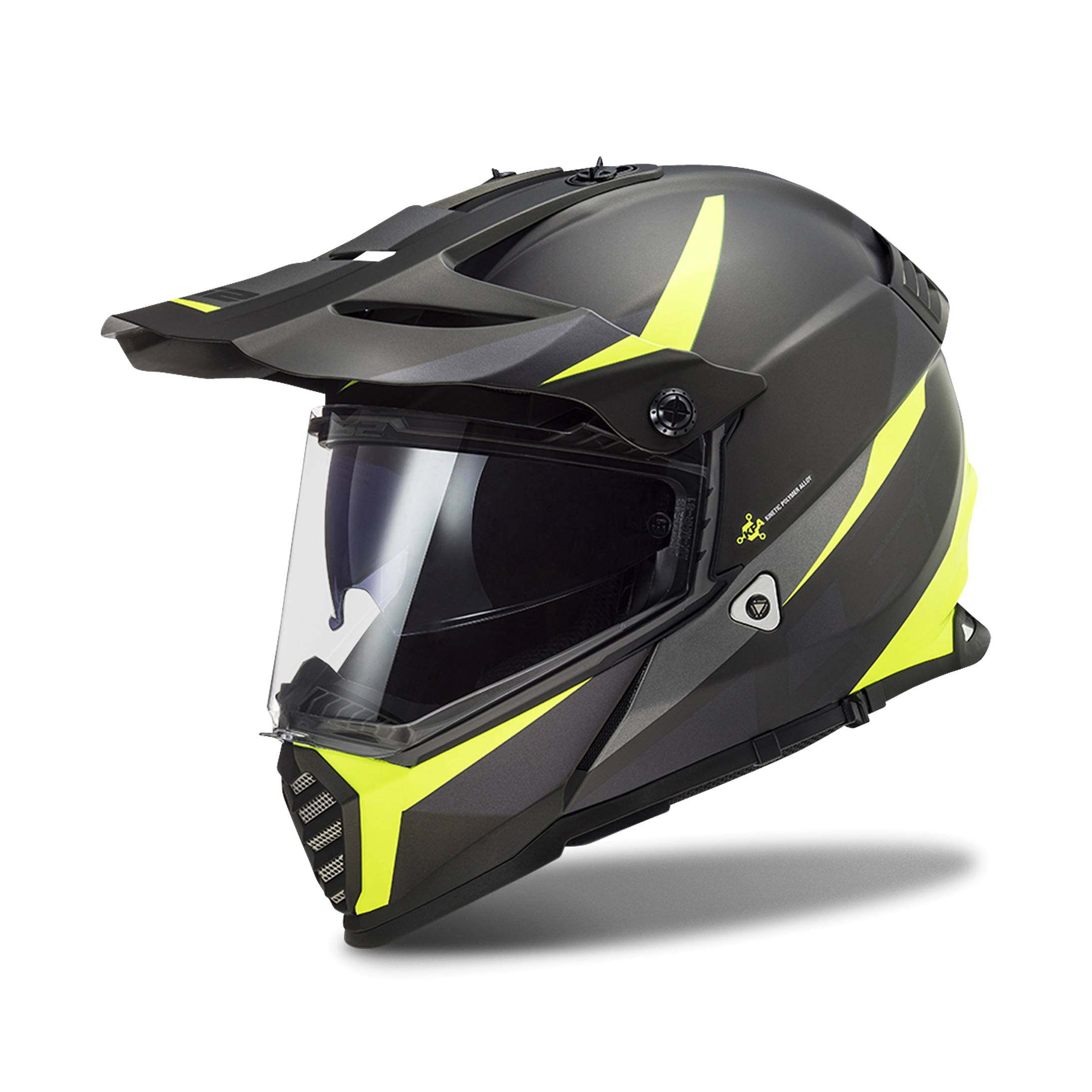 LS2 Casco Cross  MX436 Pioneer Evo Nero-HiVis-Giallo