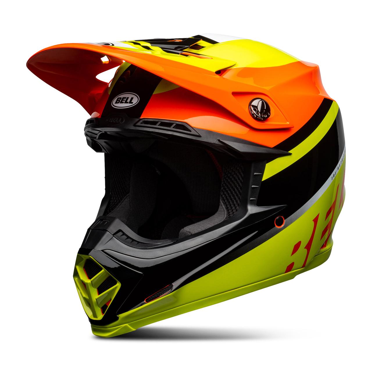 bell casco cross  moto-9 mips prophecy giallo-arancio-nero