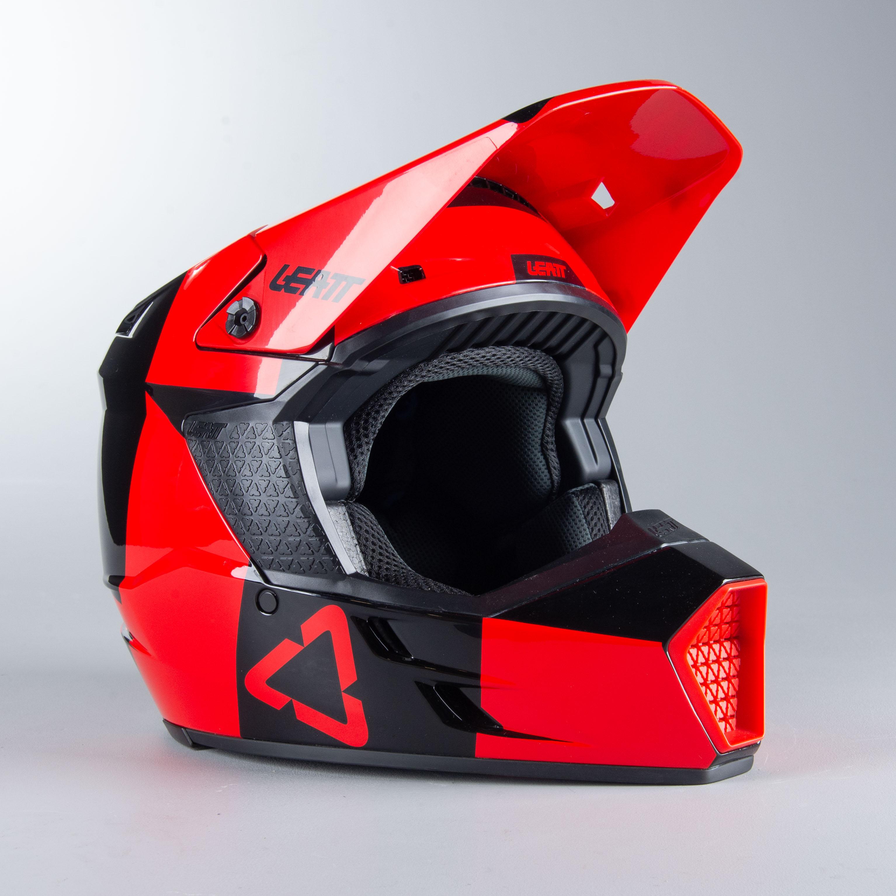 leatt casco cross  moto 3.5 rosso