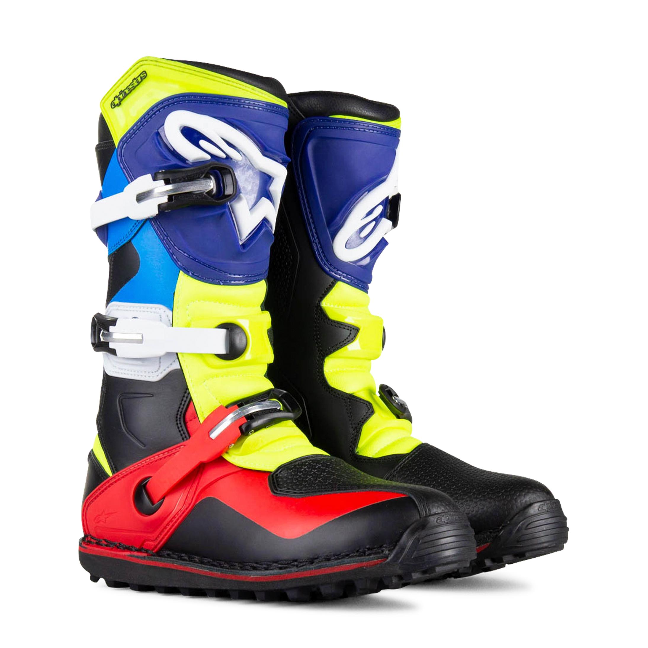 Alpinestars Stivali Cross  Tech T Nero-Rosso-Blu-Giallo Fluo