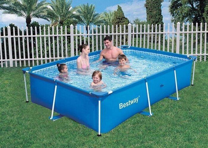 piscina de luxe splash frame rettangolare fuori terra con telaio in metallo bestway cm 259x170x61 cod. 34155