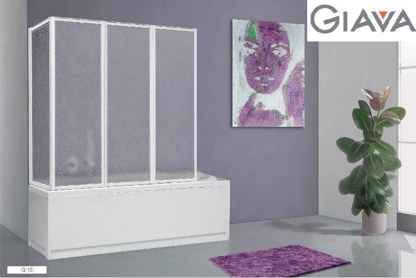 giava box – box doccia modello sopravasca g 15 67/68 + 133 – parete vasca con 4 pannelli pieghevoli profilo bianco
