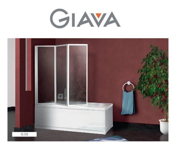 giava box – box doccia modello sopravasca g 03 133/134 – parete vasca con 3 pannelli pieghevoli profilo bianco