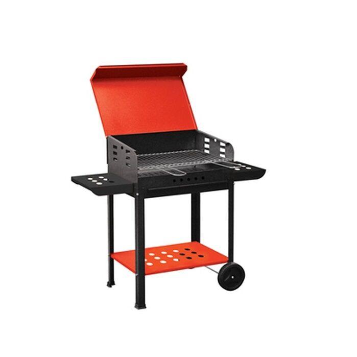 barbecue a carbonella vanessa con ruote e piani laterali con coperchio mis. 40x50x90h