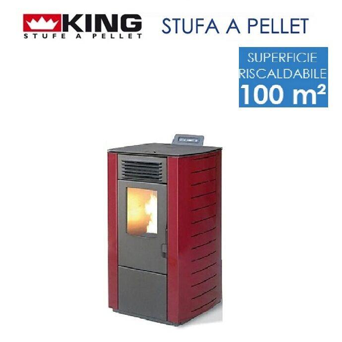 King Stufa A Pellet 10 Kw Mod. King 118 Bordeaux Per Ambienti Fino A 100 Mq – New