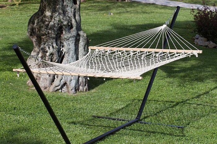 amaca doppia a rete con asse in legno cm 150x200 per esterno cod. 14359
