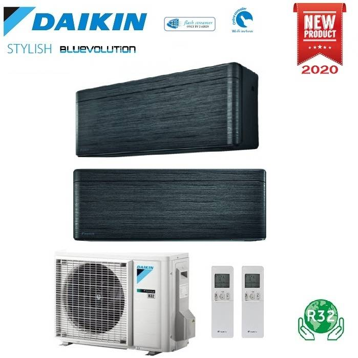 Daikin Climatizzatore Condizionatore Daikin Bluevolution Dual Split Inverter Stylish Blackwood R-32 Wi-Fi 12000+15000 Con 2mxm50m9 - New Real Blackwood Ftxa-Bt 12+15