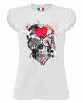 Maglietta Cotone Fiammato Da Donna Maniche Arricciate